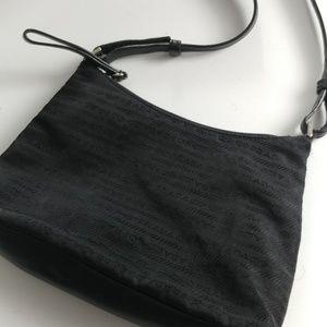 Prada Vintage Black Leather Trim Shoulder Bag